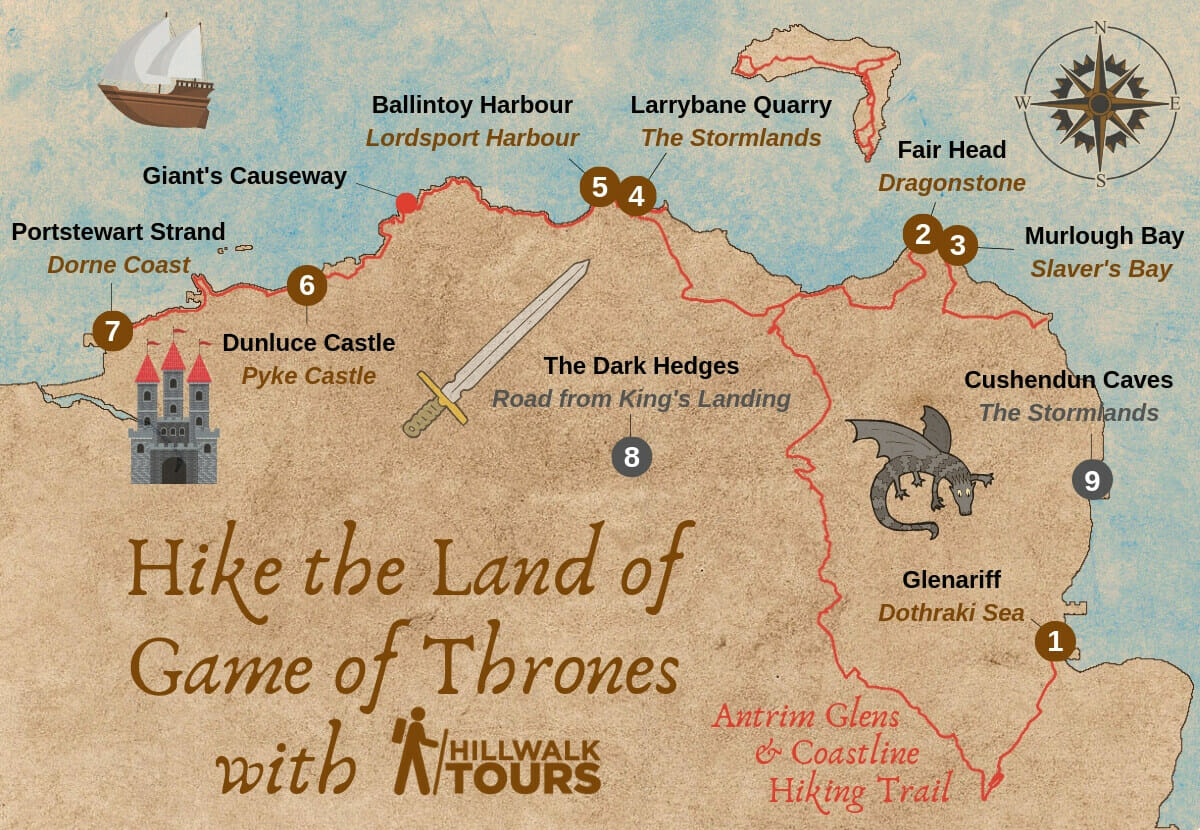 Game Of Thrones Map Filming Locations Northern Ireland